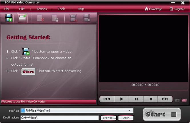 TOP RM Video Converter Screenshot