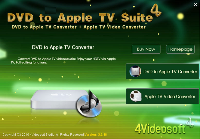 4Videosoft DVD to Apple TV Suite Screenshot 1
