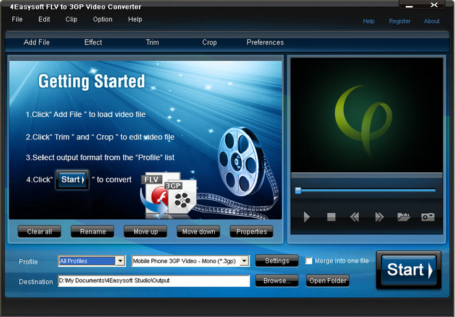 4Easysoft FLV to 3GP Video Converter Screenshot