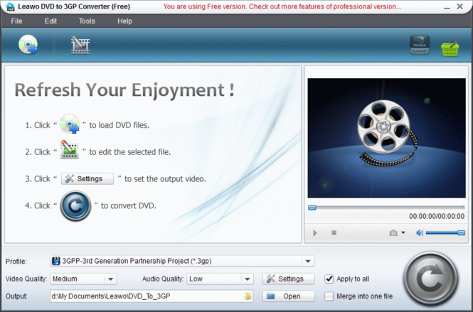 Leawo Free DVD to 3G2 Converter Screenshot