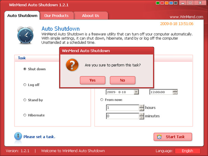 WinMend Auto Shutdown Screenshot