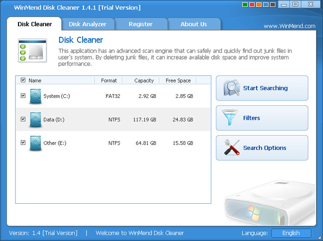 WinMend Disk Cleaner Screenshot