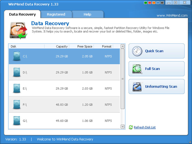 WinMend Data Recovery Screenshot