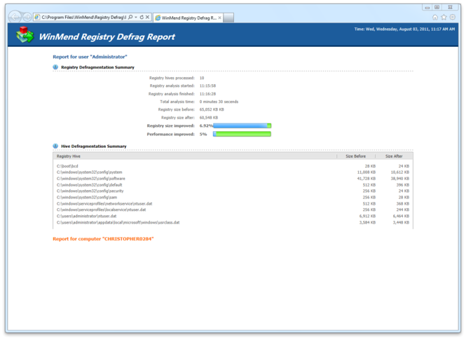 WinMend Registry Defrag Screenshot 5