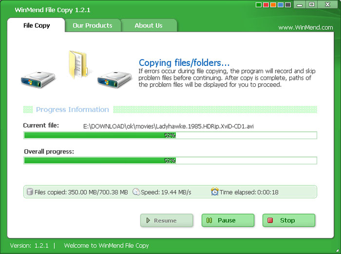 WinMend File Copy Screenshot