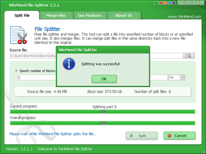 WinMend File Splitter Screenshot