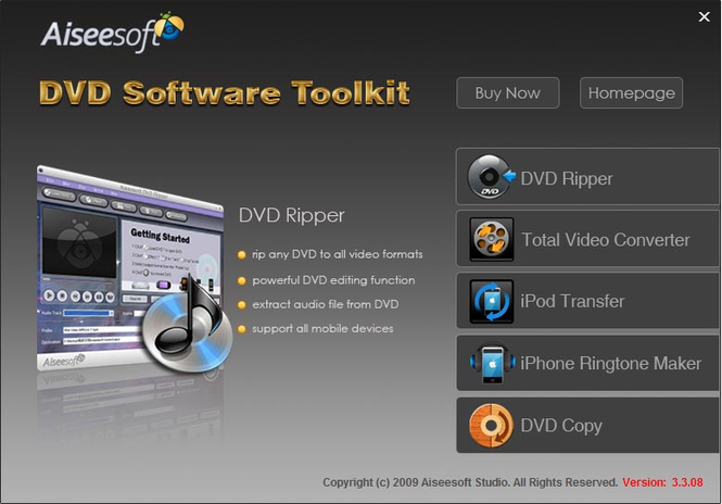 Aiseesoft DVD Software Toolkit Screenshot
