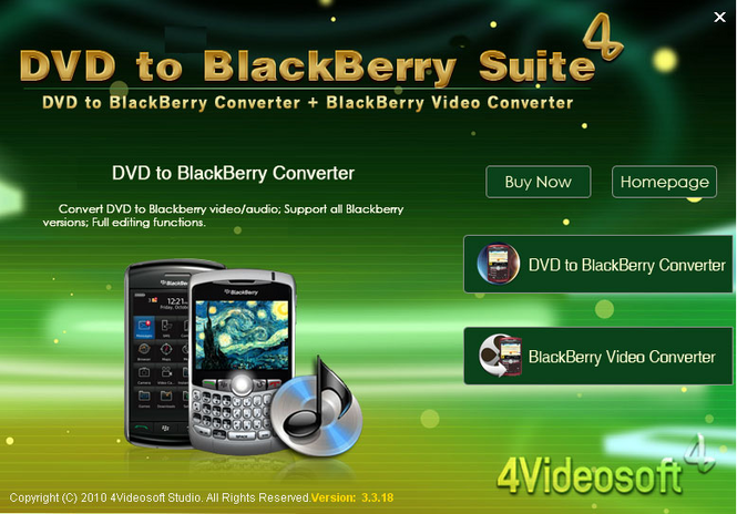 4Videosoft DVD to BlackBerry Suite Screenshot 1