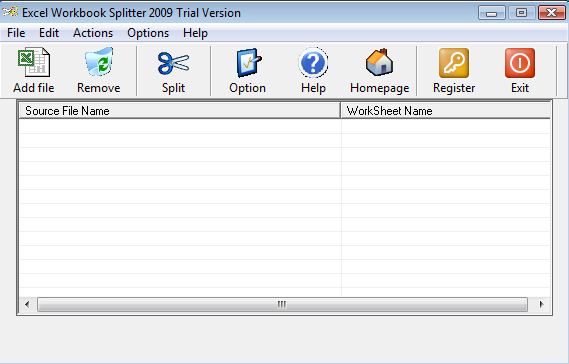 Excel Workbook Splitter Screenshot