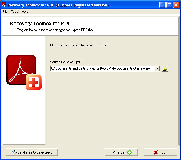 PDF Recovery Toolbox Screenshot