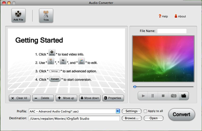 Iorgsoft Audio Converter for Mac Screenshot