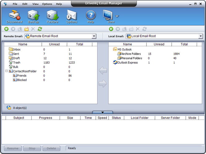 DriveHQ Email Manager - Outlook Backup Screenshot
