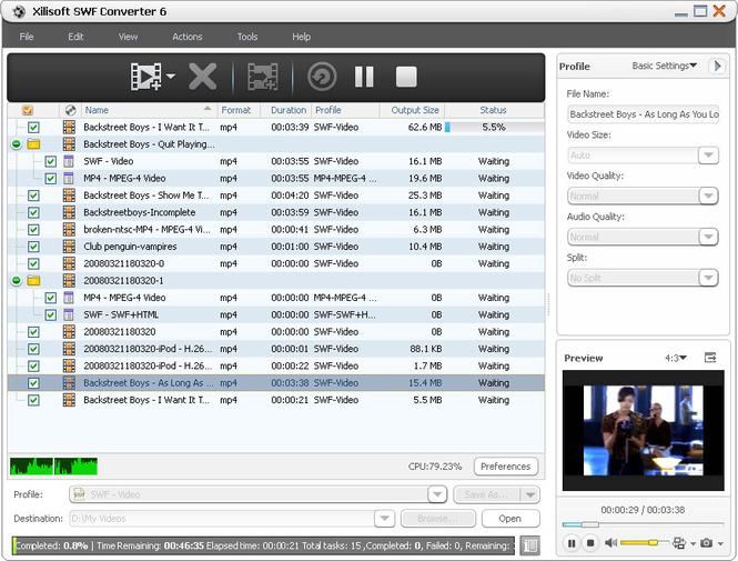 Xilisoft SWF Converter Screenshot