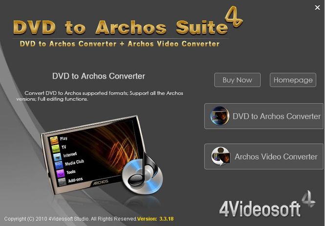 4Videosoft DVD to Archos Suite Screenshot 1