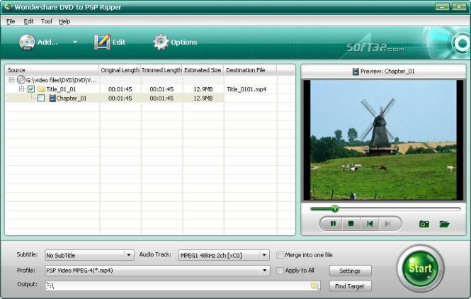 Wondershare DVD to PSP Ripper Screenshot 1