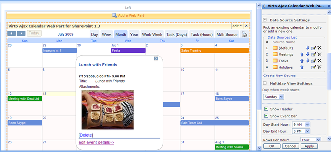 Virto Ajax SharePoint Web Part Calendar Screenshot