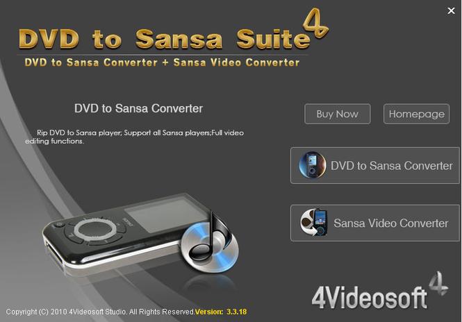 4Videosoft DVD to Sansa Suite Screenshot 1