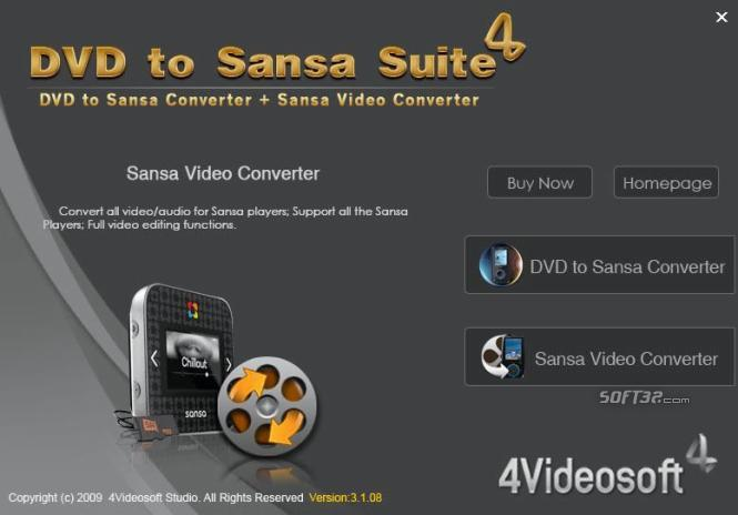 4Videosoft DVD to Sansa Suite Screenshot 2
