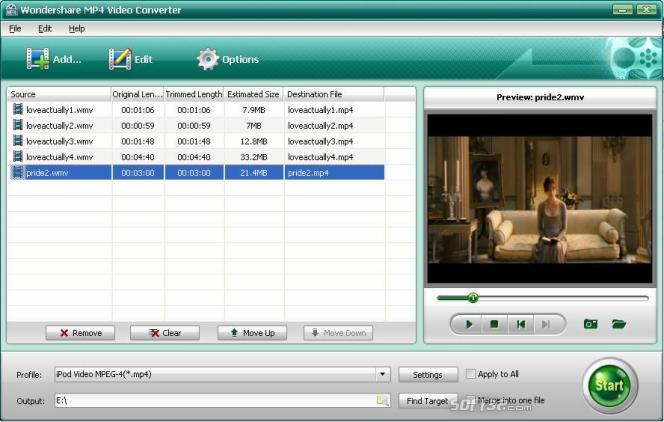 Wondershare MP4 Video Converter Screenshot