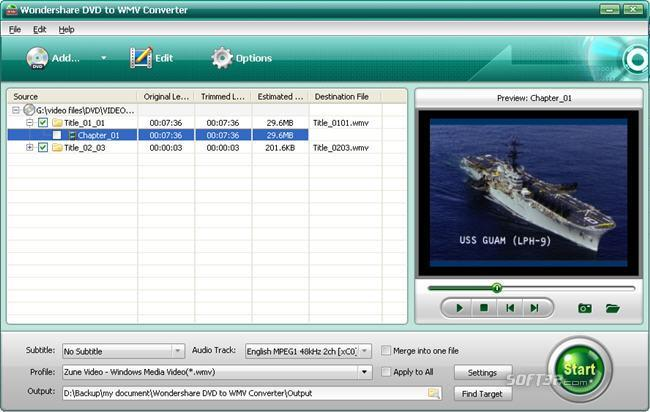 Wondershare DVD to WMV Converter Screenshot 1