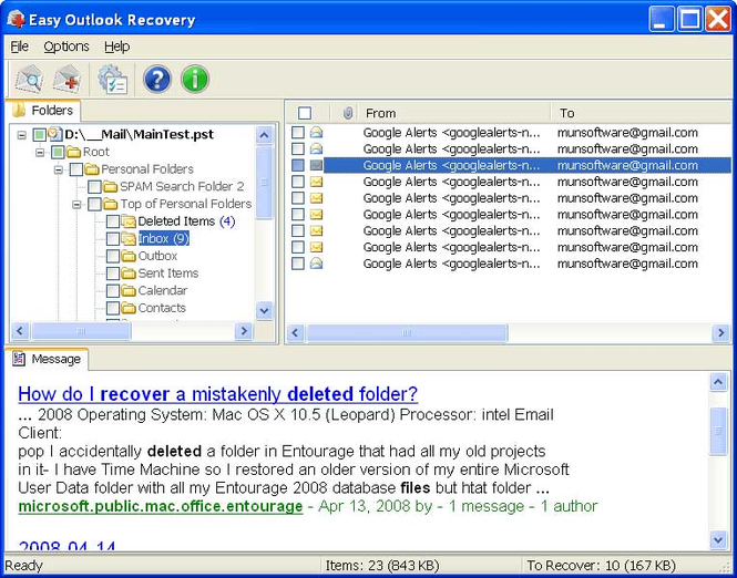 Easy Outlook Recovery Screenshot 1