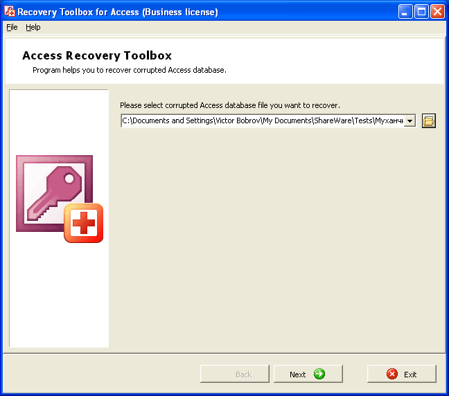Recovery Toolbox for Access Screenshot