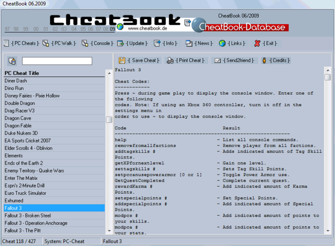 CheatBook Issue 06/2009 Screenshot