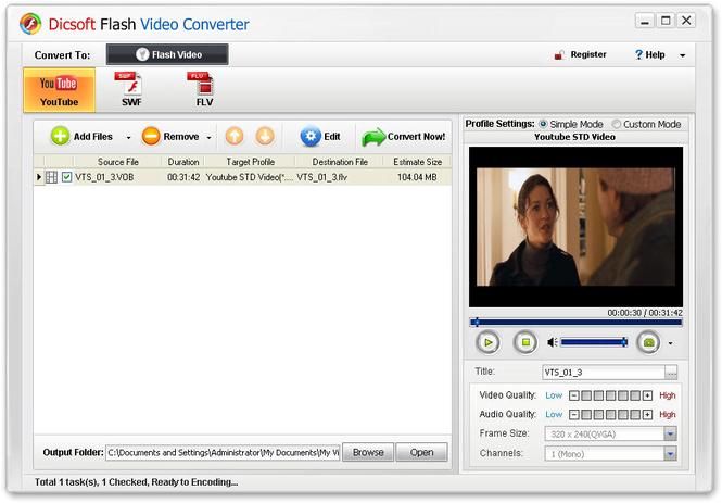 Dicsoft Flash Video Converter Screenshot