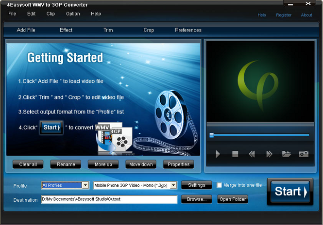 4Easysoft WMV to 3GP Converter Screenshot