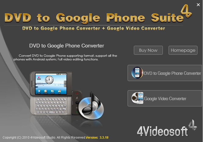 4Videosoft DVD to Google Phone Suite Screenshot