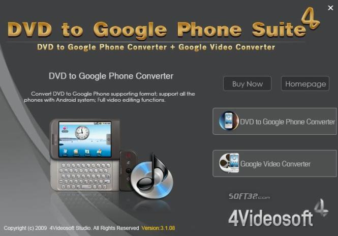 4Videosoft DVD to Google Phone Suite Screenshot 3