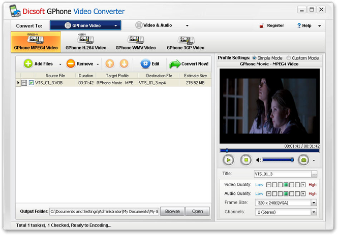 Dicsoft GPhone Video Converter Screenshot