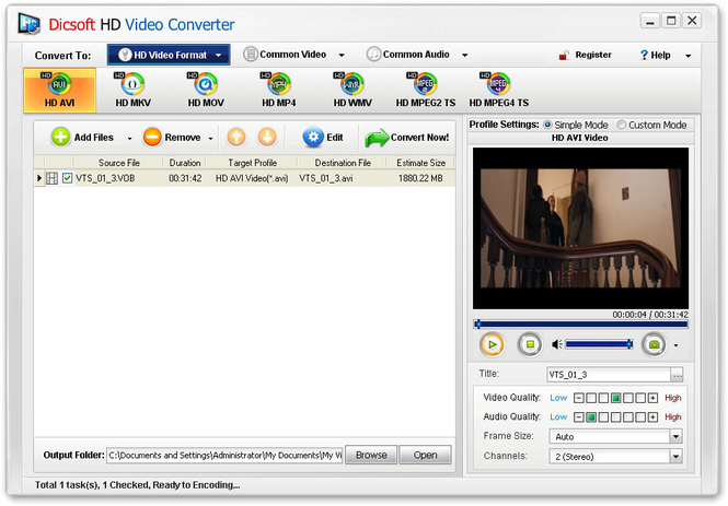 Dicsoft HD Video Converter Screenshot 1