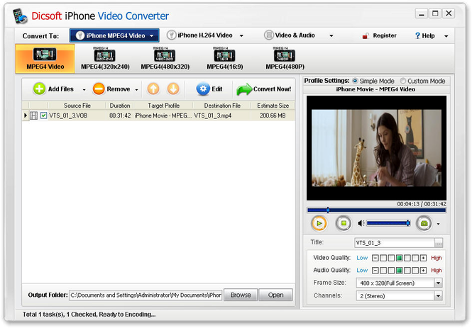 Dicsoft iPhone Video Converter Screenshot