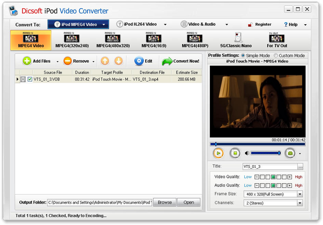 Dicsoft iPod Video Converter Screenshot