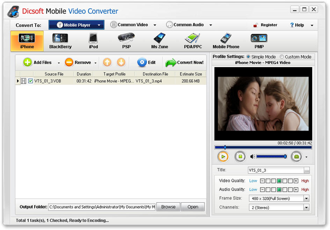 Dicsoft Mobile Video Converter Screenshot 1