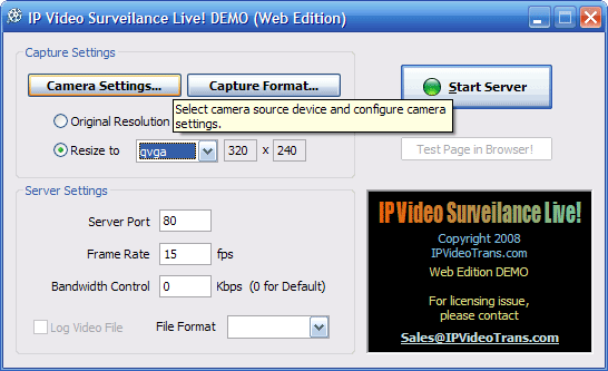 IP Video Surveillance Live! WEB DEMO Screenshot