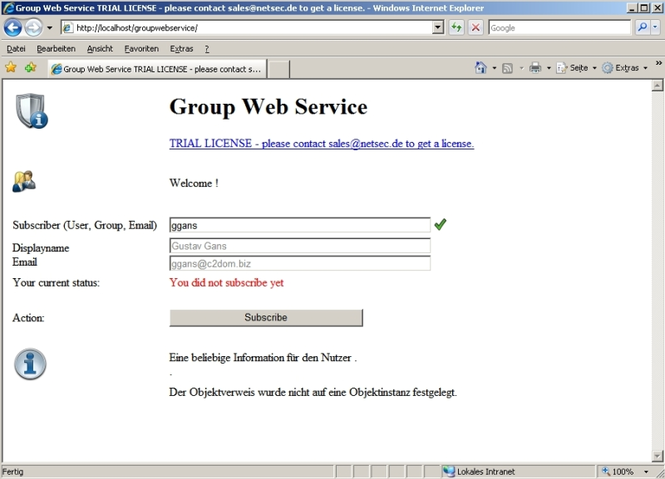GroupWebService Screenshot 1