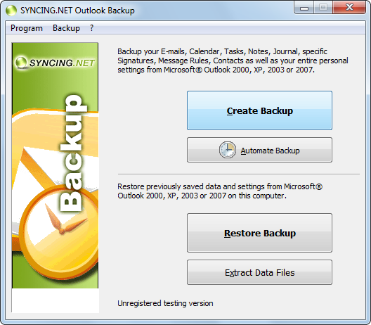 SYNCING.NET Outlook Backup Screenshot 1
