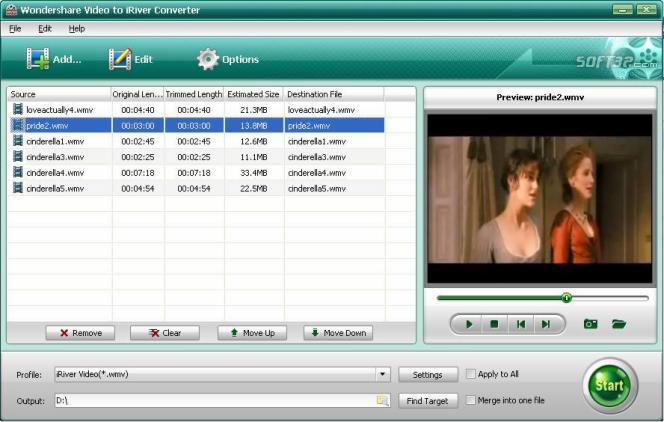 Wondershare Video to iRiver Converter Screenshot
