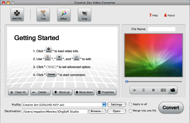 Creative Zen Video Converter for Mac Screenshot