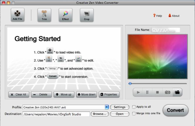 Creative Zen Video Converter for Mac Screenshot 3