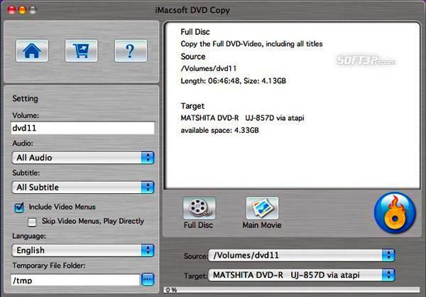 iMacsoft DVD Copy for Mac Screenshot 2