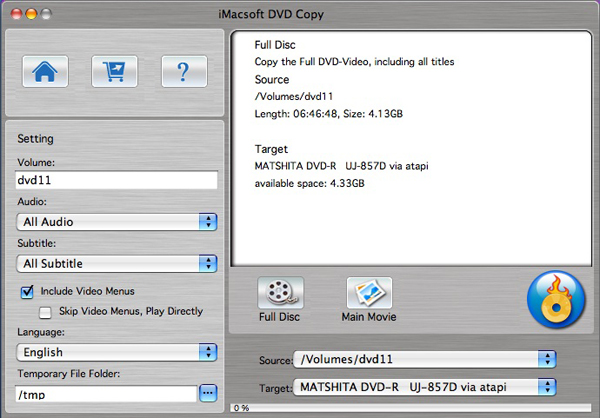 iMacsoft DVD Copy for Mac Screenshot