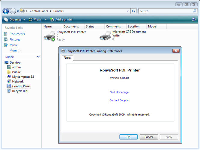 RonyaSoft PDF Printer Screenshot