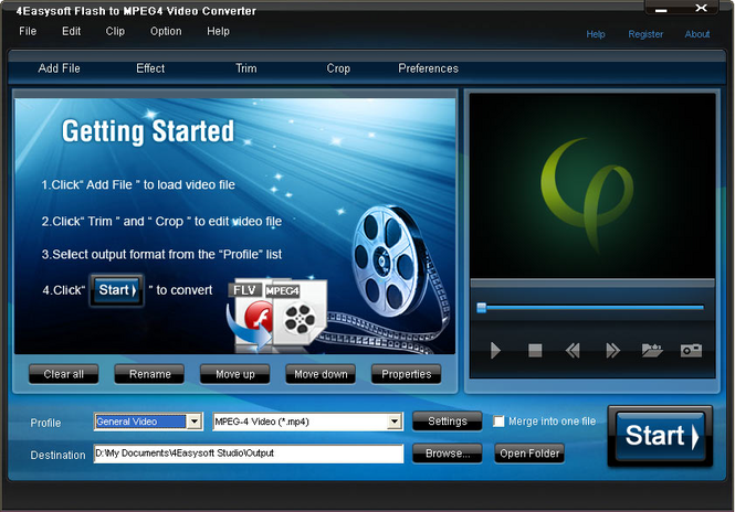 4Easysoft Flash to MPEG4 Video Converter Screenshot 1