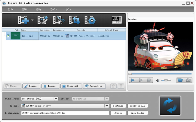 Tipard HD Video Converter Screenshot
