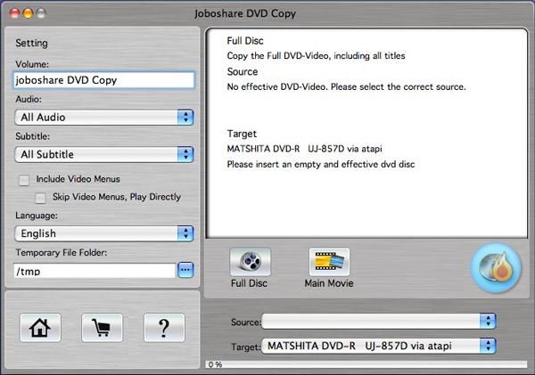 Joboshare DVD Copy for Mac Screenshot 1