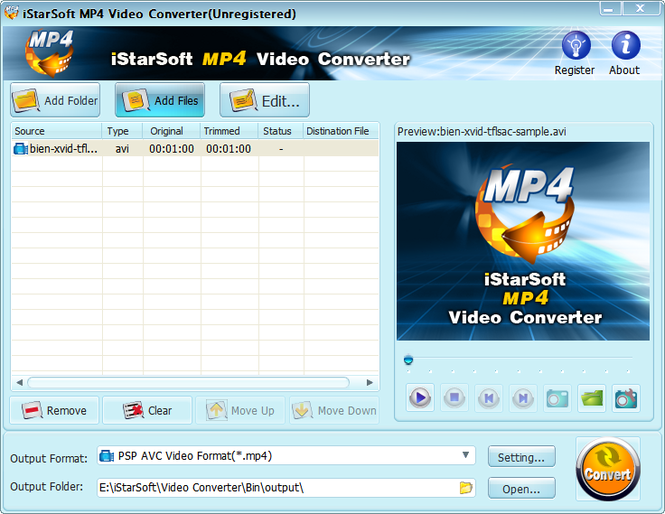iStarSoft MP4 Video Converter Screenshot
