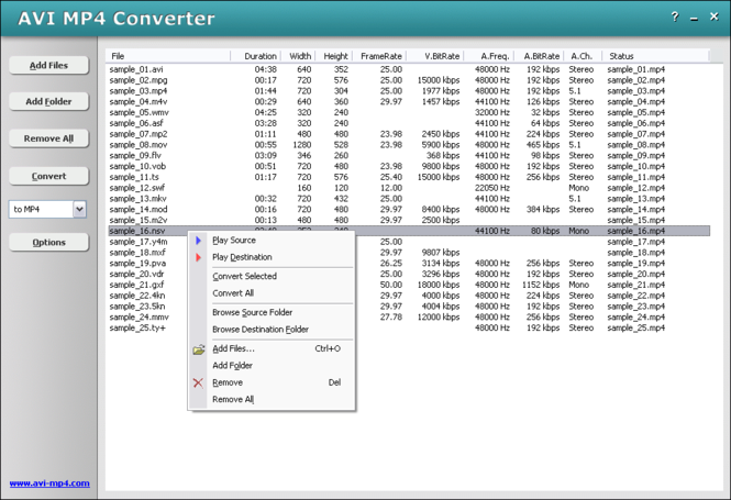 HooTech AVI MP4 Converter Screenshot 1